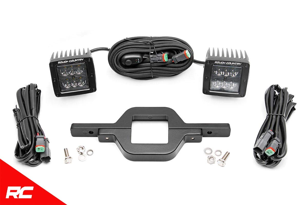 Rough Country LED Hitch Mounting Kit Includes 2 2'' LED Cubes Mounting Brackets and Wiring 70686 by Rough Country