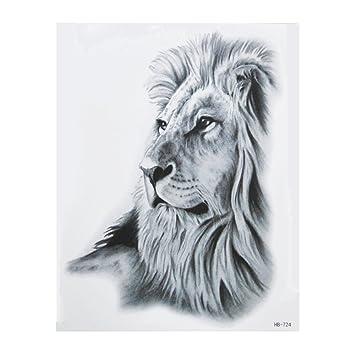 Hb724 Tatouage Noir Motif Lion Pour Bras Amazon Fr Beaute Et Parfum