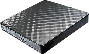 Pop-Up Portable USB 3.0 External DVD CD Drive for Alienware M15 M 15 Area 51m 51 Aurora R7 M17 17 R5 AW3418DW R8 Gaming Laptop PC, Double Layer 8X DVD RW RAM 24X CD-R Burner Black Plaid Pattern