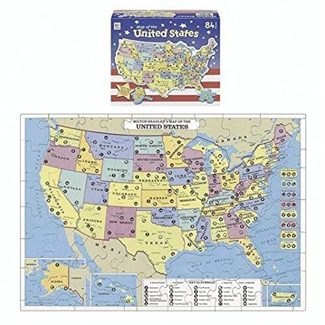 Puzzle Map Of The United States.Amazon Com U S Map Puzzle By Milton Bradley Toys Games