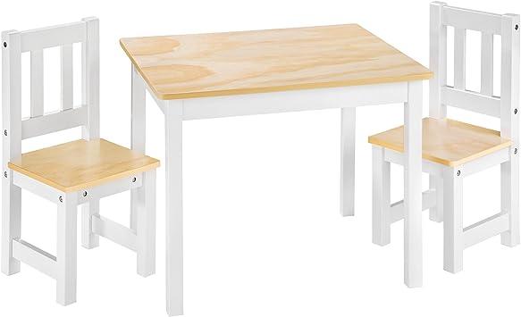 tectake Ensemble Table et 2 chaises pour Enfants en Bois | Naturel Blanc