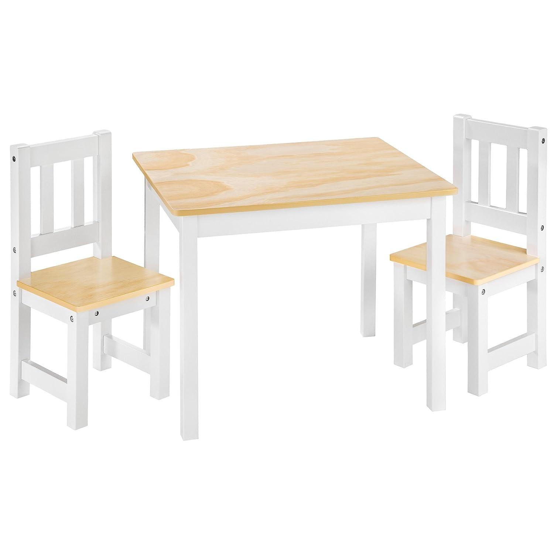 TecTake Kindersitzgruppe mit Kindertisch und 2 Stühlen aus Holz natur weiß