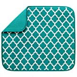 #1: S&T 594401 Reversible Micofiber Dish Drying Mat, Teal Trellis