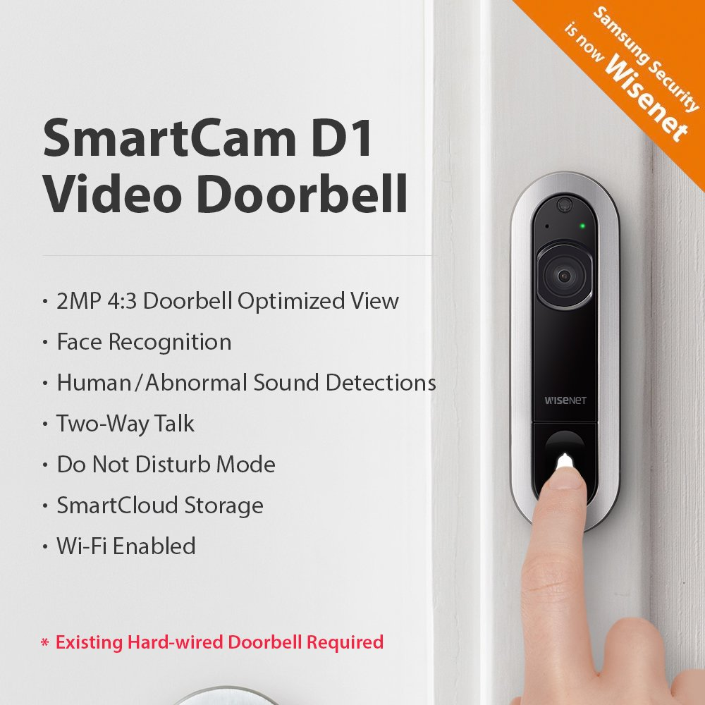 Wisenet Smartcam D1 Wired Video Doorbell For Home Wiring Door Bell Security Face Recognition Full Hd And Free 6 Month Cloud Trial Hard To Existing