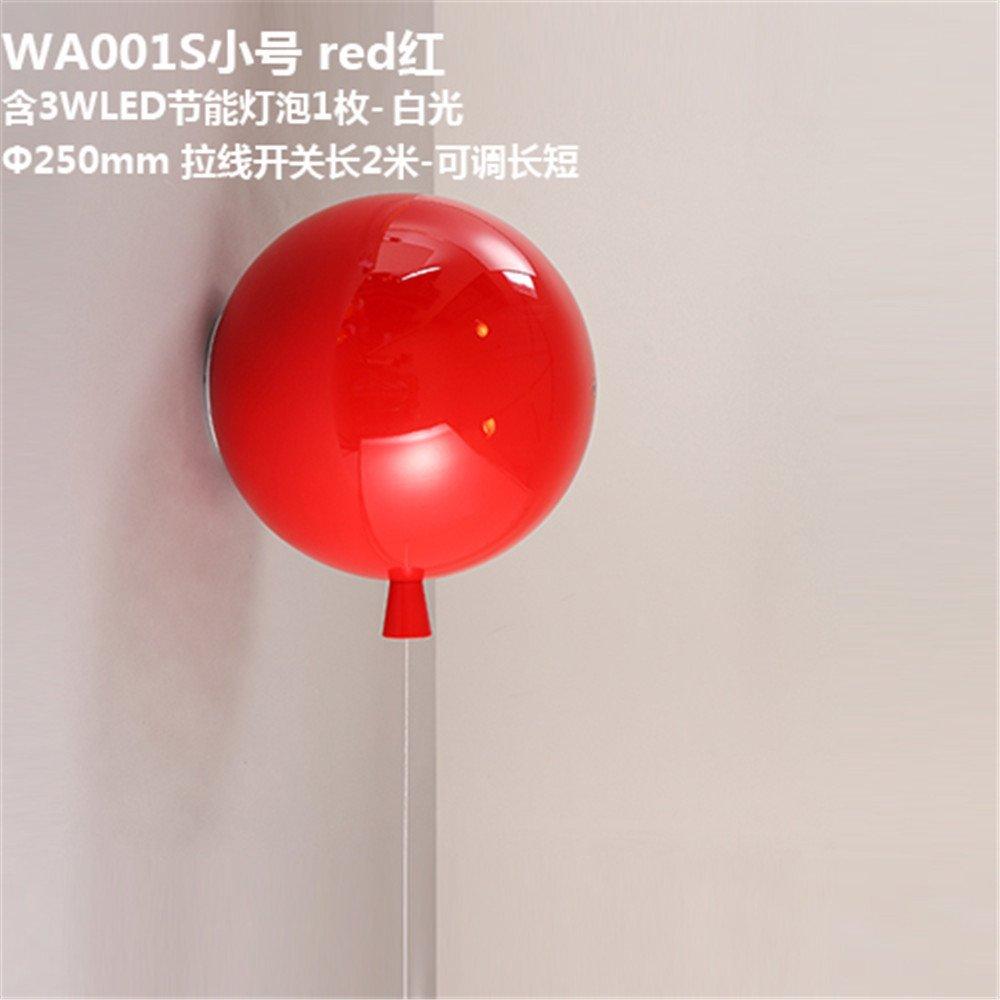 DengWu lampada da parete Moderno e minimalista coloreato lampade a palloncino aderente acrilico corridoio ristorante camere da letto lampade letto di stanza dei bambini luci da parete rosso (25cm)