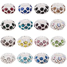 Pandahall 100PCS Mixed Color Alloy Rhinestone Large Hole European Beads, Silver- 11x6mm, Hole: 5mm