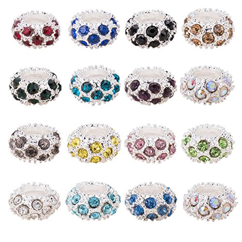 Pandahall 100PCS Mixed Color Alloy Rhinestone Large Hole European Beads, Silver- 11x6mm, Hole: (Hole Metal Bead)