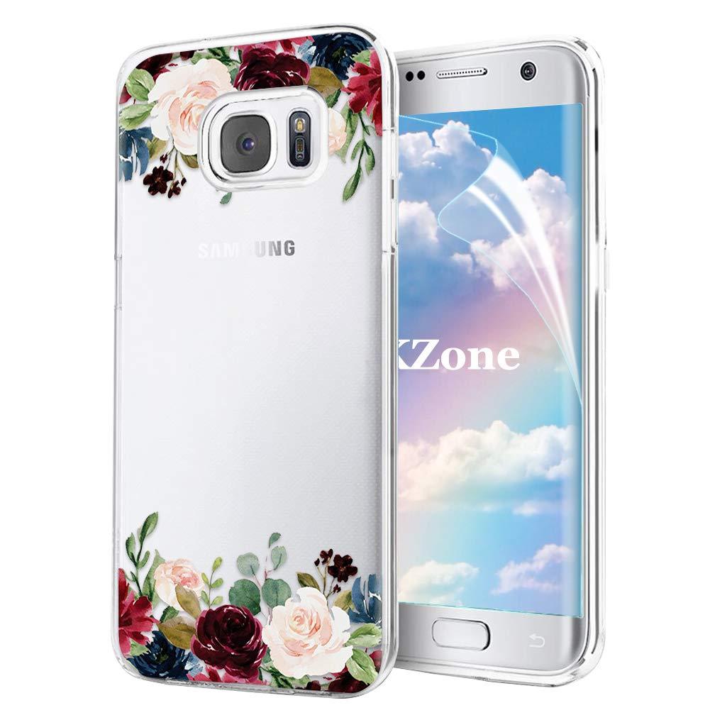OKZone Coque Galaxy S7 [avec Film de Protection é cran HD], Floral Flower Blossom Fleur Clair Design Motif Transparente Silicone Gel TPU Souple Housse Etui de Protection pour Samsung Galaxy S7 (Vert) OKZ-HX-FLORTPU-IX1017064