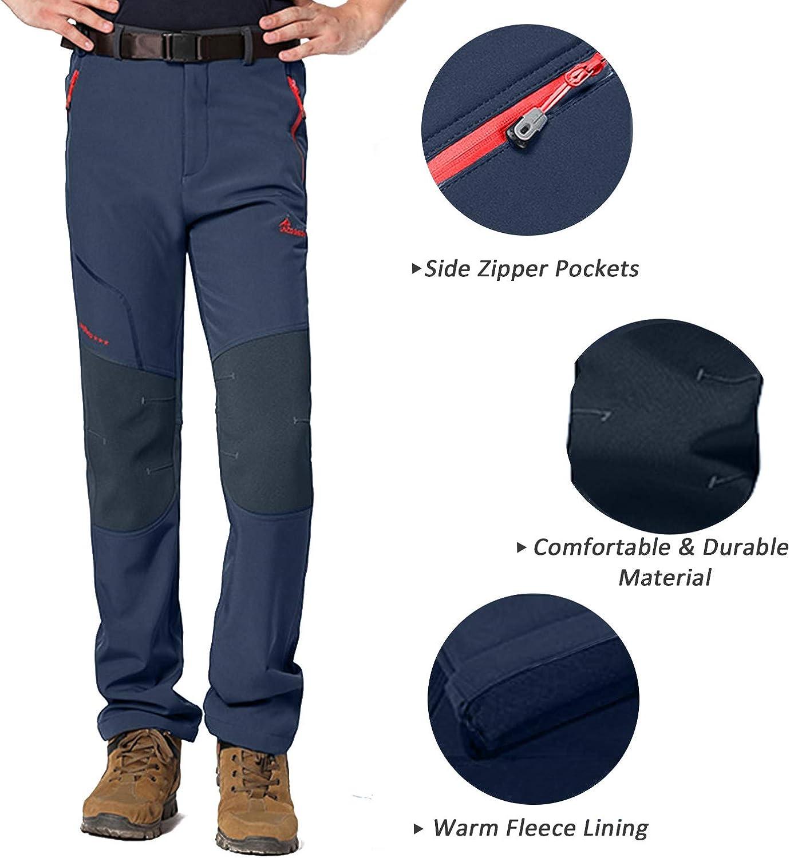 7VSTOHS Pantalon de randonn/ée pour homme en plein air avec doublure en polaire et coupe-vent et imperm/éable