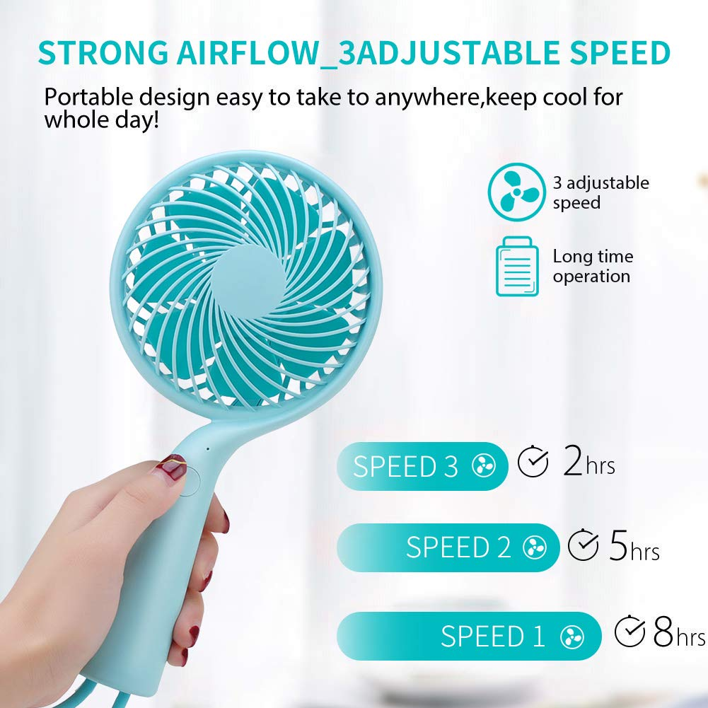 LBTbate Mini Handheld Fan, Portable Personal Fan Chargeable Battery Operated Powered Cooling Desktop Electric Fan with Base, 3 Speeds for Office/Home/Travel/Outdoor (Green)