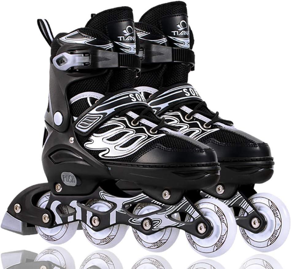 ティーンエイジャー調節可能なサイズインラインスケートスポーツレジャーローラーブレード男の子と女の子安全で丈夫なインラインスケート (Color : 黒, Size : S-EU(30-34)) 黒 S-EU(30-34)