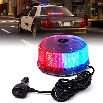 for 12V Emergency Vehicle Truck Xprite Red Blue 240 LED Warning Strobe Beacon Light Rotating Revolving Flashing Police Safety Caution Lights with Magnetic Mount