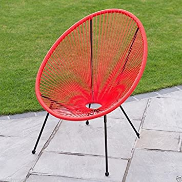 New Funky Modern String Moon Chair With Steel Tube Frame Legs   RED