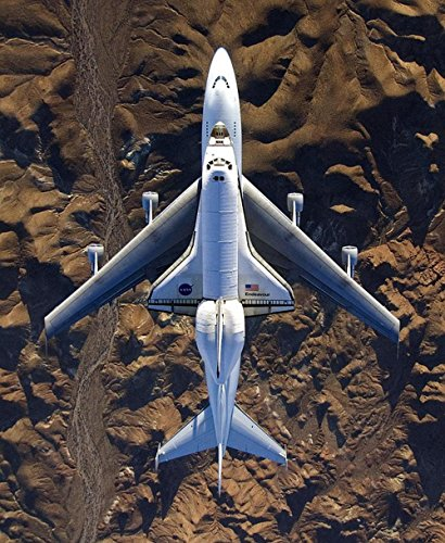 Boeing Space Plane (LAMINATED 24x29 inches POSTER: Space Shuttle Endeavour Shuttle Carrier Aircraft Boeing 747 Mounted Aerospace Craft Nasa Exploration Fly Plane Orbit Airplane Transport Space Spaceship Astronaut)