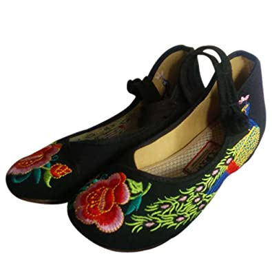 Femmes Mary Jane Phoenix Sandales Kindoyo Élégant ChaussuresRouge Pattern Wedge Brodées Toile Chaussures UpVqzGSM