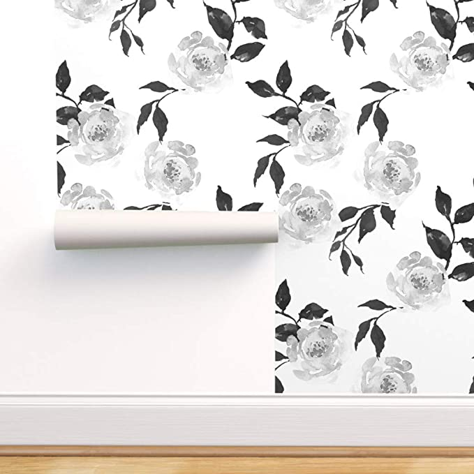 Monochrome Magnolia By Indybloomdesign Black White Custom Printed Removable Self Adhesive Wallpaper Roll by Spoonflower Floral Wallpaper