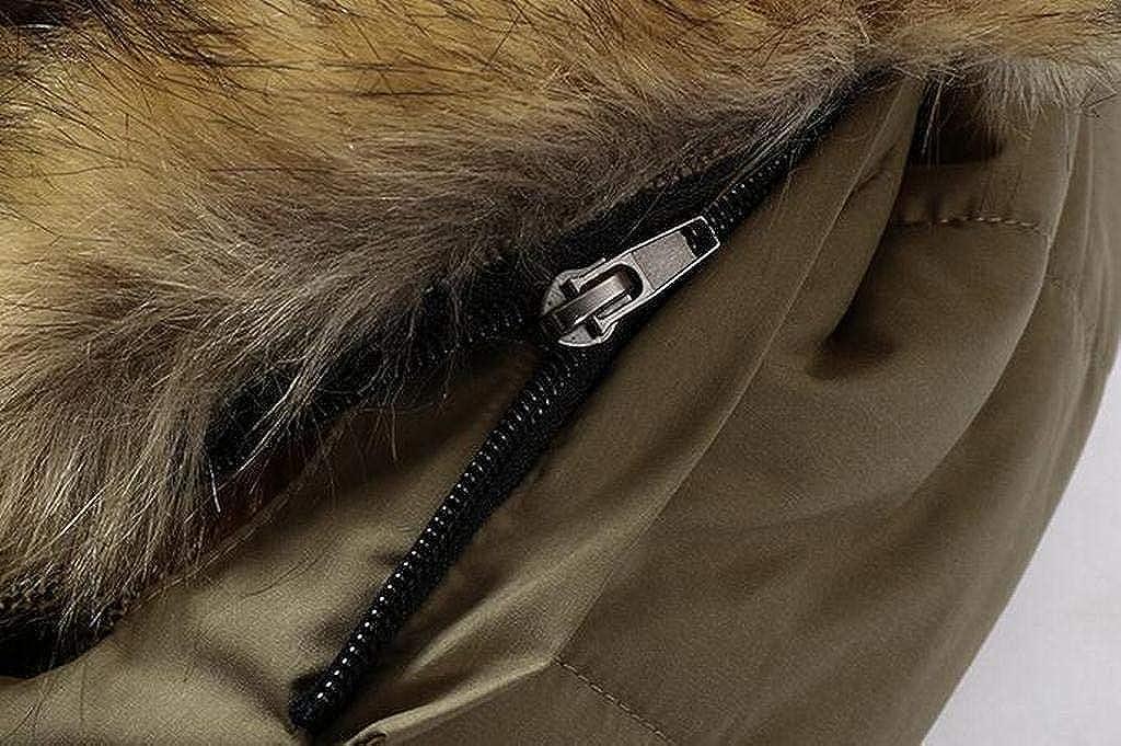 MMCP Men Fleece Lined Winter Faux Fur Collar Warm Down Quilted Jacket Coat Outwear