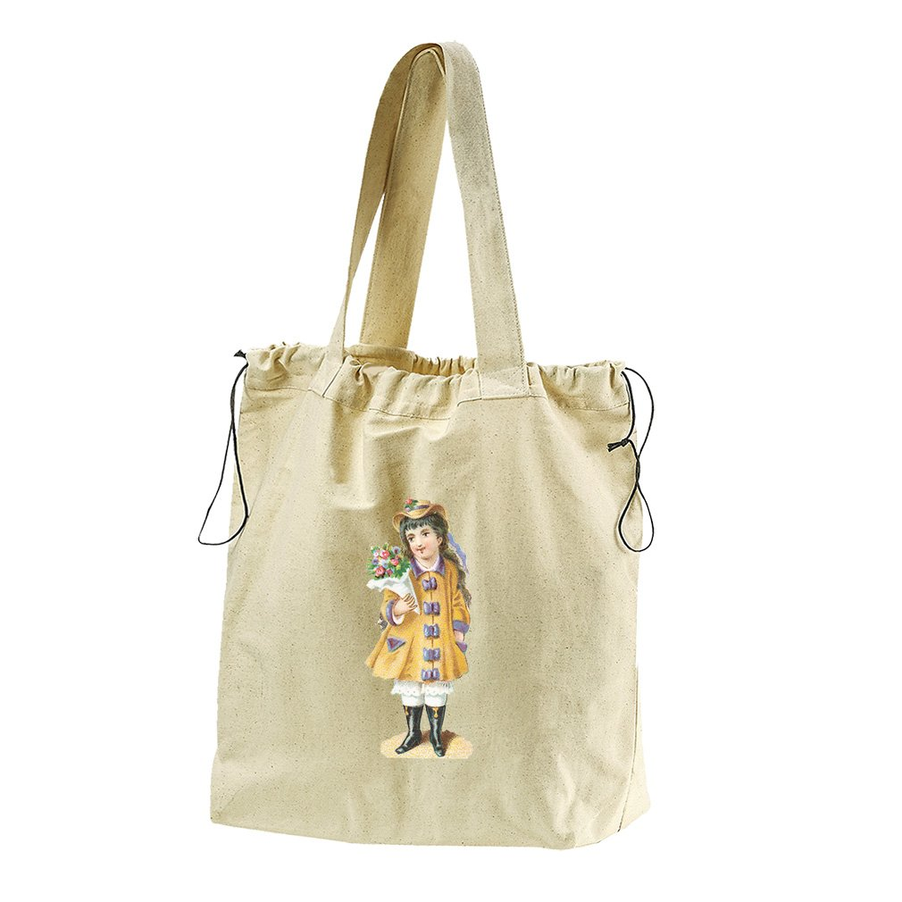 Girl In Yellow Coat And Flowers Canvas Drawstring Beach Tote Bag