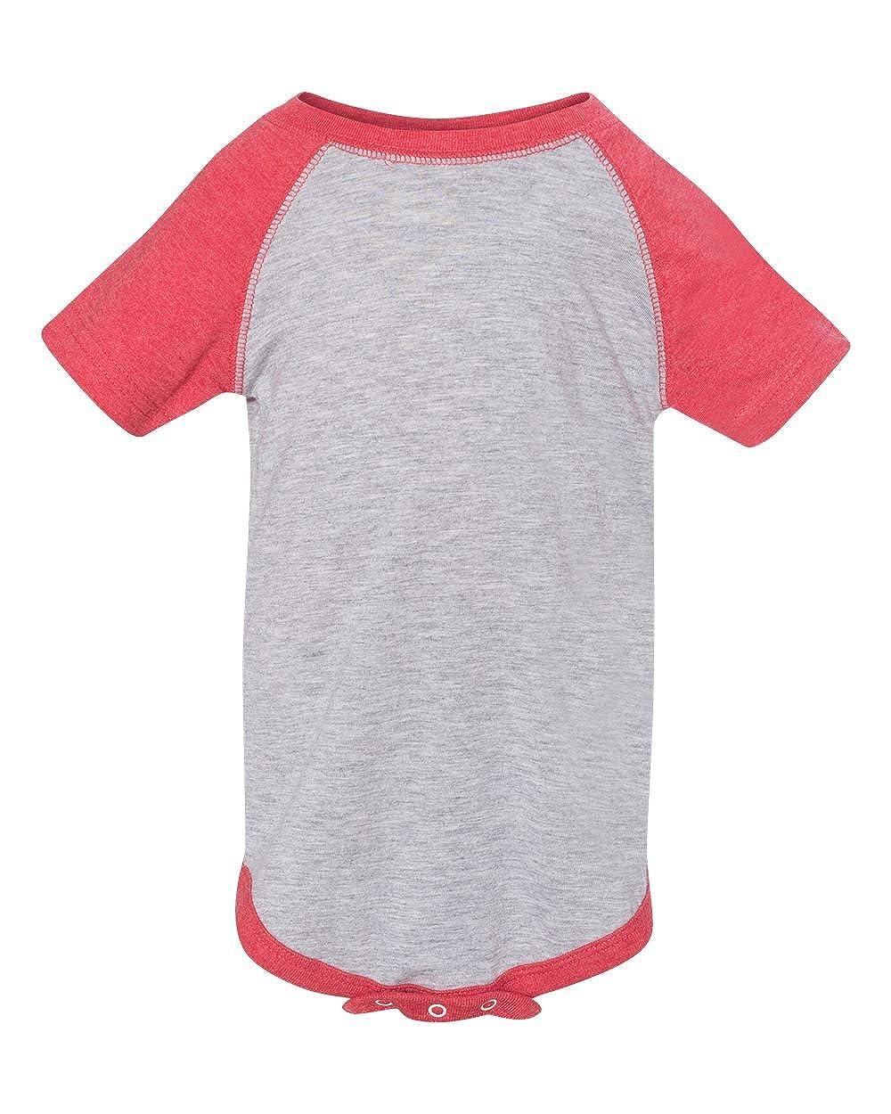 Clementine Infant Baseball Fine Jersey Bodysuit RS4430 VN Heather//V 18MOS