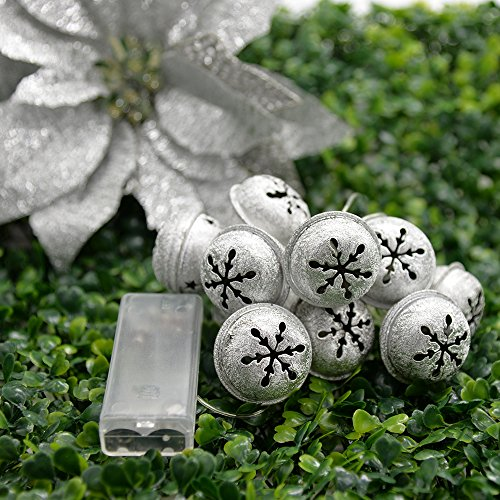 Fanme Bell Lights20 LED 2 m Snowflake String Lights Battery Operated Waterproof Fairy Lights for Outdoor Indoor Tree Birthday Party Decoration (bell) (Bell Strand Wire)