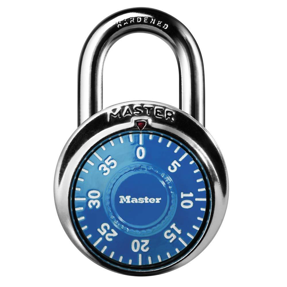 Master Lock Padlock Standard Dial Combination Lock 1 7 8 in. Wide Blue 1506D