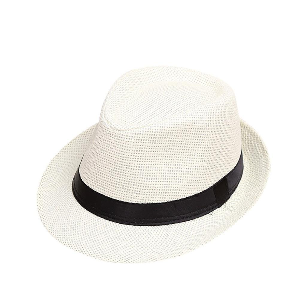 Kids Cap,YJYdada Children Kids Summer Beach Straw Hat Jazz Panama Trilby Fedora Hat Gangster Cap (C)