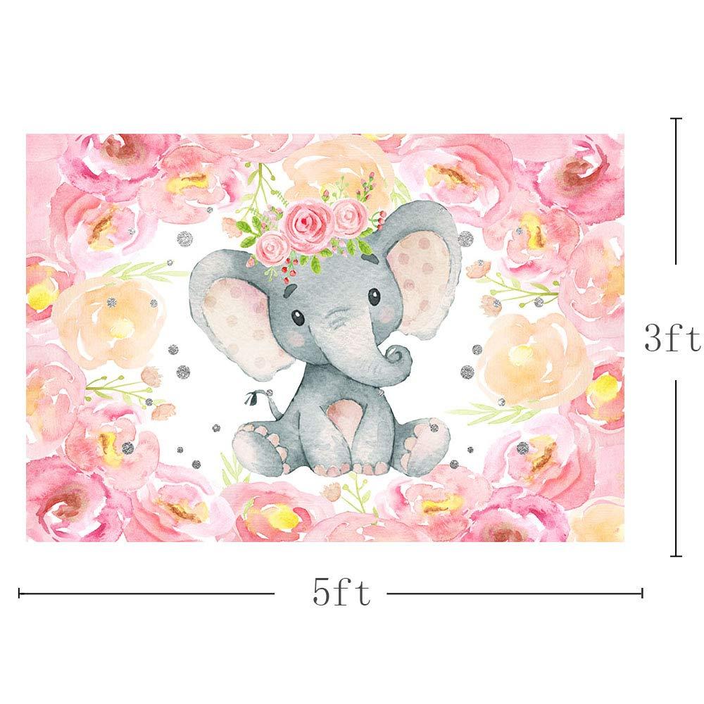 Amazon Com Mehofoto Lovely Pink Elephant Baby Shower Backdrop