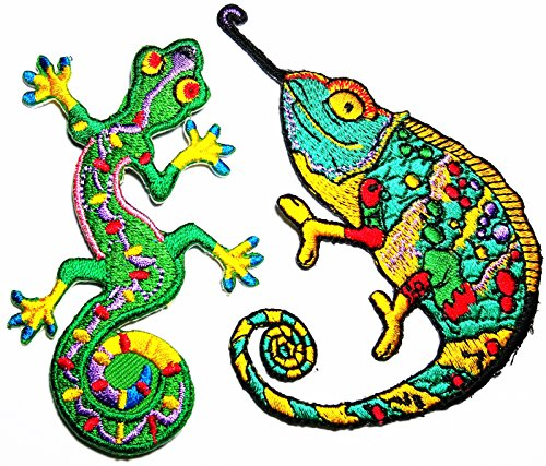 2 PCS Tribal Lizard Patch Gecko Symbol salamander Chameleon lizard retro hippie boho tattoo patch Logo Jacket T-shirt Patch DIY Applique Embroidered Sew Iron on Patch