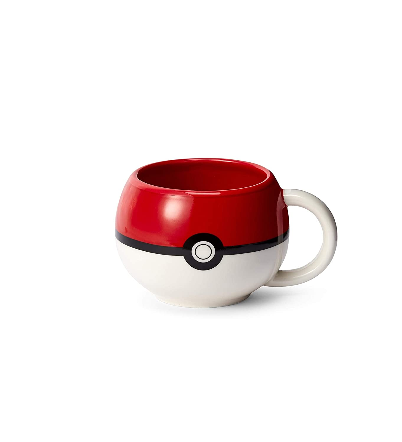 Official Pokemon Pokeball Molded Mug - Ceramic Cup for Hot Coffee, Tea, Cocoa - Novelty Drinking Container - Perfect for Home, Office, Parties - Licensed Nintendo Merchandise