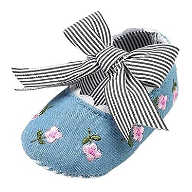 Elaco Infant Baby Girls Moccasins Anti-Slip Soft Sole Princess Shoes (0~6 Month, Blue)