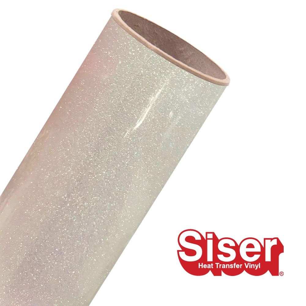 Siser Glitter 11.8''x5yd Roll (Rainbow White, 15ft)