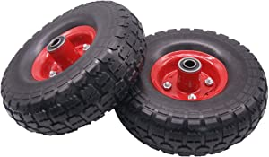 """4.10/3.50-4"""" Flat Free Hand Truck Tire on Wheel for Dolly Hand Cart 2 New 10"""" Replacement Tire with 5/8"""" Center Shaft Hole"""