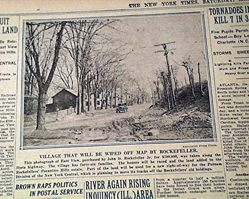 EASTVIEW NY Hamlet Mount Pleasant New York & John D. Rockefeller 1929 Newspaper THE NEW YORK TIMES, March 23, - Eastview Ny