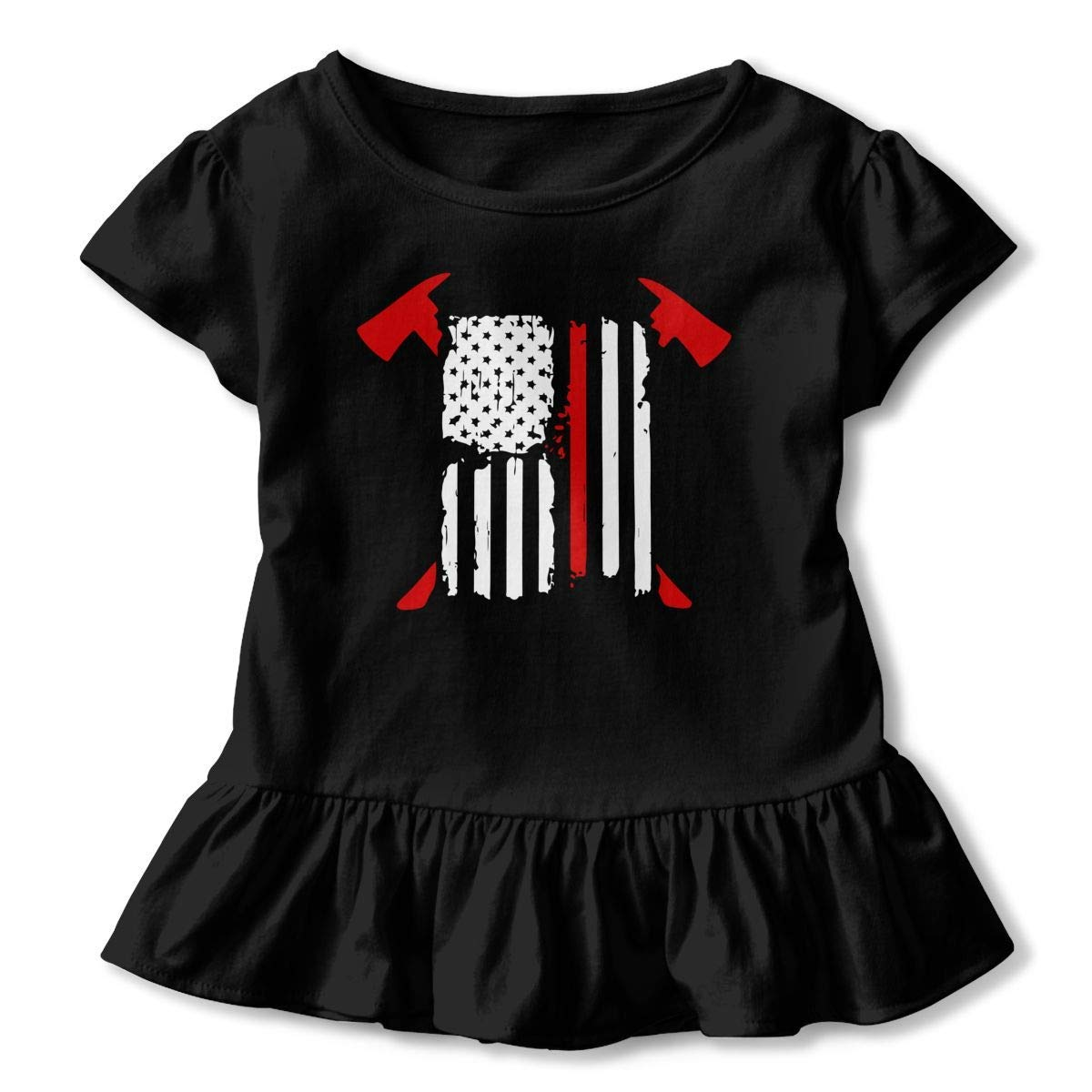 2-6T Casual Tunic Shirt Dress with Flounces Girls Short Sleeve Firefighter Red Line American Flag Shirts