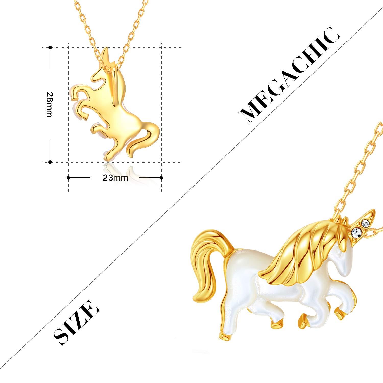 MEGACHIC Collar para Mujer Unicornio Oro con Nácar Cristales de Swarovski