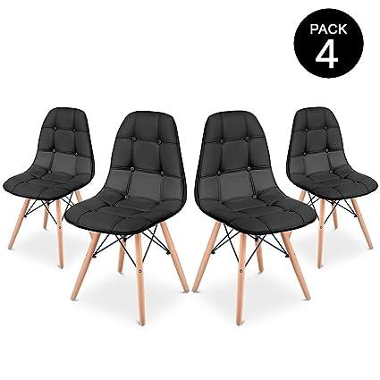 McHaus Pack 4 Sillas Comedor Color Negro de diseño Acolchadas 66 x 64 x 53 cm