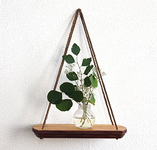Small Decorative Wall Shelf Brown 9x6 Inches Modern Wood Hanging Shelves for Plant Indoor Mid Century Display Plant Stand Wooden Flower Succulent Vase Swing Holder Home Decor Housewarming Gift (Holder Wooden Plant)
