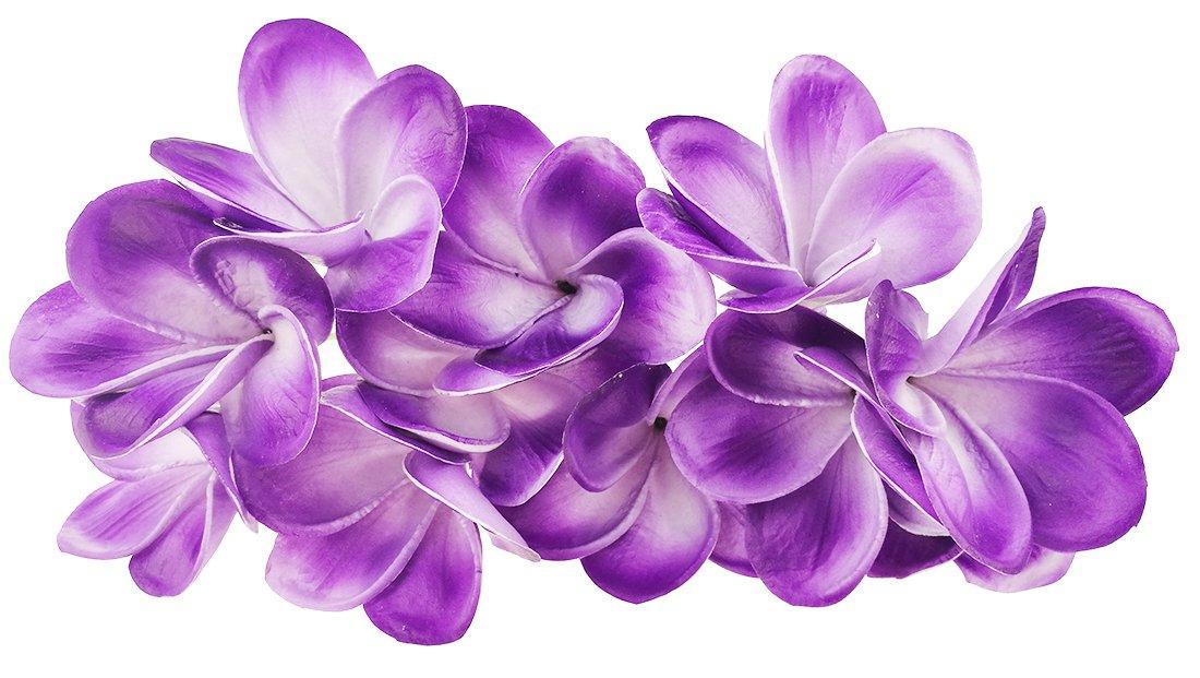 silk flower arrangements winterworm bunch of 10 pu real touch lifelike artificial plumeria frangipani flower bouquets wedding home party decoration (purple+white)