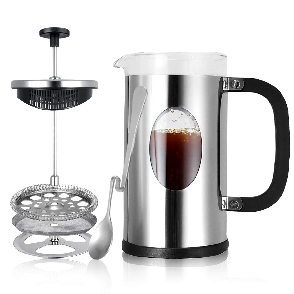 French Coffee Press Coffee Maker – Heat Resistant Borosilicate Glass and 4 Level Filtration 304 Grade Stainless Steel 8 cup,34 oz – Perfect To Make Fresh French Coffee, Tea, Espresso