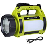 LE 1000lm Lanterne LED Rechargeable 10W, Projecteur Portable et Ultra Léger, Eclairage Polyvalent, 3 faces lumineuse, 2 Niveaux de Luminosité, Eclairage d'urgence, Câble USB Inclus, IPX4 Étanche, phare T6 Haute Puissance, randonnée, camping, activités en extérieur