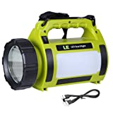 LE 1000lm USB Rechargeable LED Spotlight, Portable Camping Lantern, Power Bank, Waterproof, Dimmable, 10W 5 Modes, LED Searchlight, High Power Beam Flashlight Torch for Home Indoor Outdoor Tent Emergency