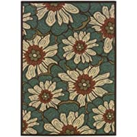 Oriental Weavers Indoor/Outdoor Rectangle Area Rug 25x45 Blue-Brown Montego Collection