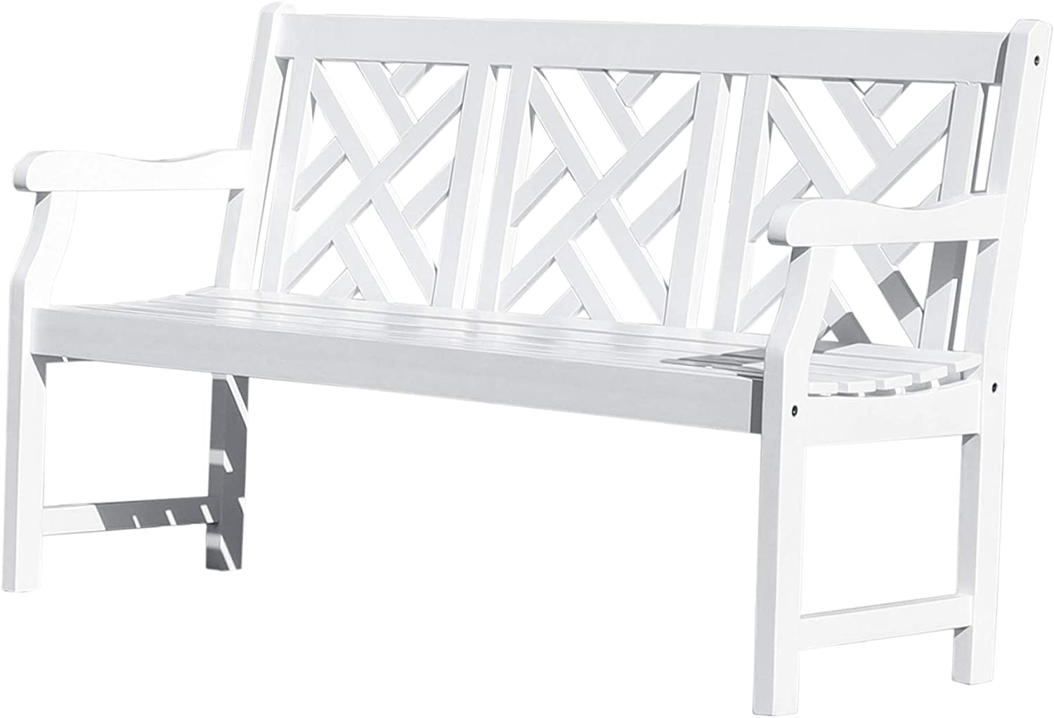 Vifah Painted 5Ft Martha Latice Acacia White Wooden Bench for 3 Seater in Entry Way, Porch, Balcony, Deck, Garden, Patio, Backyard, Outdoor Seating, 550 lbs Capacity