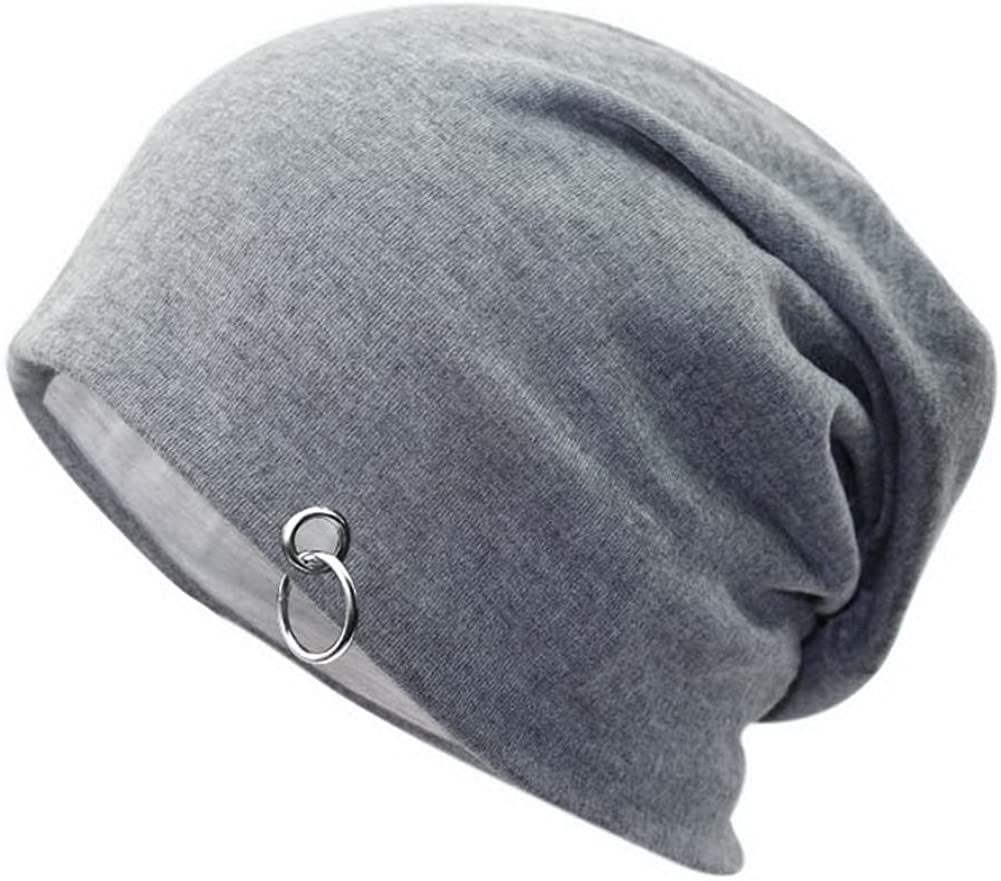 Mens Winter Slouchy Hat Plus Velvet Warm Hat Silver Circle Style Cap Light Gray