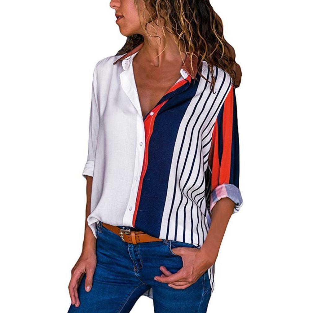 BCDshop Women Fancy Long Sleeve Shirts Block Stripe Button Down Tops Blouse (White, XL)