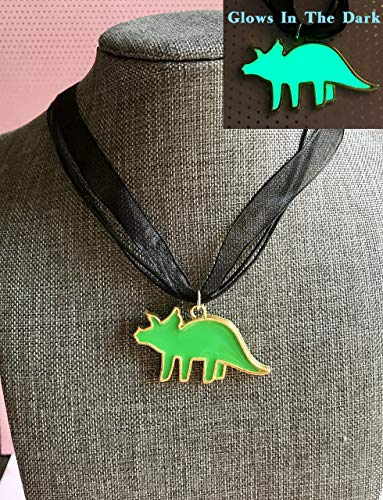 Triceratops Green Glow In The Dark Dinosaur Pendant Necklace]()