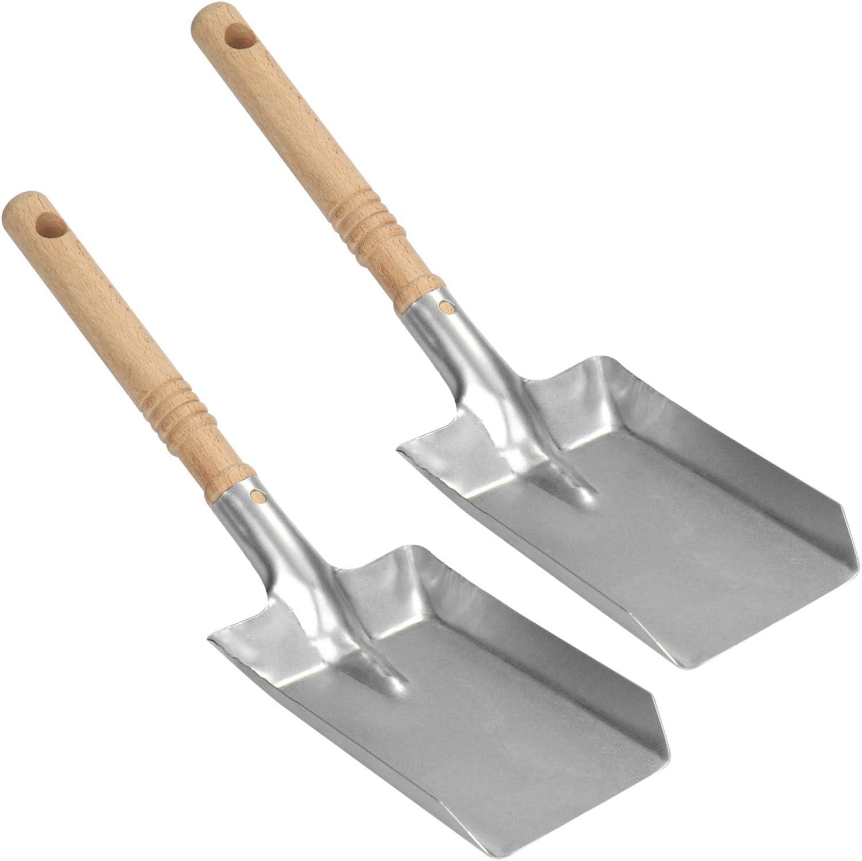 com-four® 2X Cuchara para carbón con Hoja galvanizada - Pala para Horno con Mango de Madera - Pala para carbón para Chimenea, Horno, Parrilla (02 Piezas - Pala para carbón)