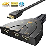 HDMI Switch, 3 Port 4K HDMI Switch 3 in 1 out with High Speed Switch Splitter Pigtail Cable 3 Ports Auto Switcher Hub to Expand Your HDMI Capacity,Supports Full HD 4K 1080P 3D Player