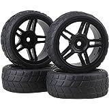 BQLZR Durable Rubber Hub Wheel Rim&Tires 1:10 On-road Racing Car RC Pack Of 4 Black