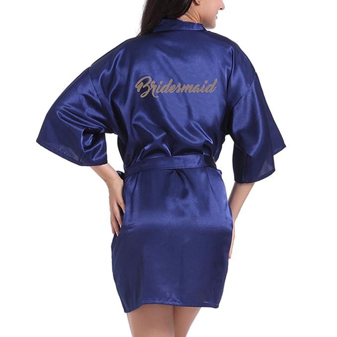 WEIMEITE Batas de Dama de Honor para el Banquete de Boda de Damas de Honor Kimono Preparándose Satén Satinado con Brillo Dorado: Amazon.es: Ropa y ...